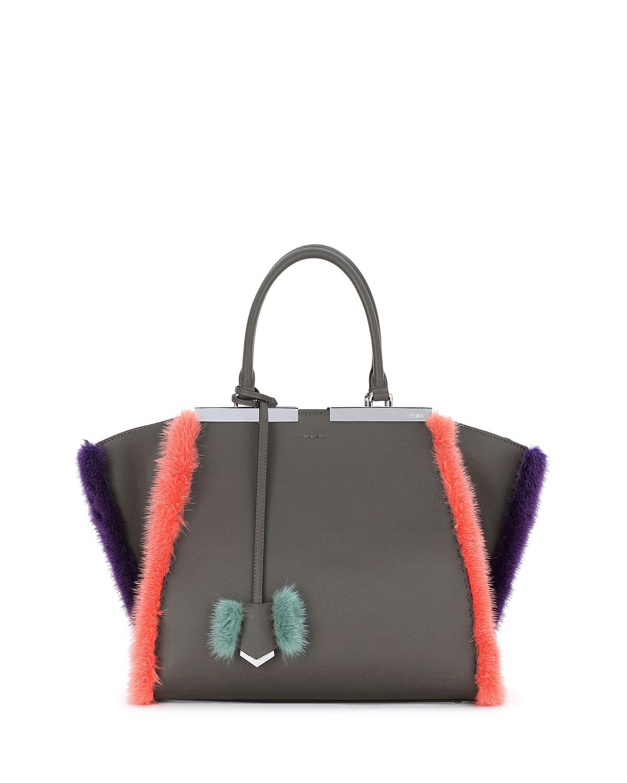 Fendi 3 Jours Fur-Trim Leather Satchel Bag d6a80d3f44bf0