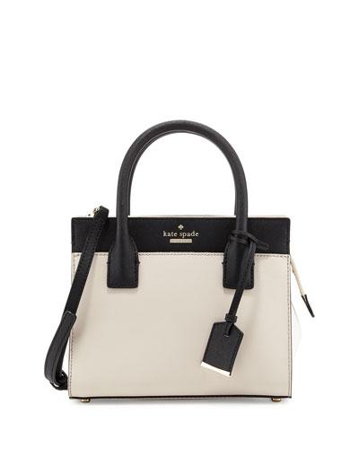 cameron street mini candace satchel bag, crisp linen/cement/black