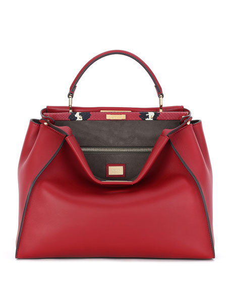 Fendi Peekaboo Large Leather/Painted Snake Bag, Red