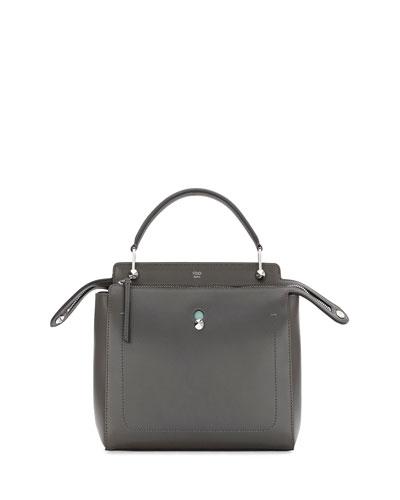 DOTCOM Medium Leather Satchel Bag, Dark Gray
