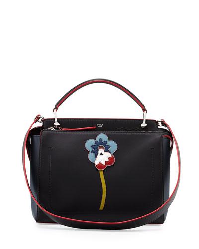 DOTCOM Flower Medium Leather Satchel Bag, Black/Red