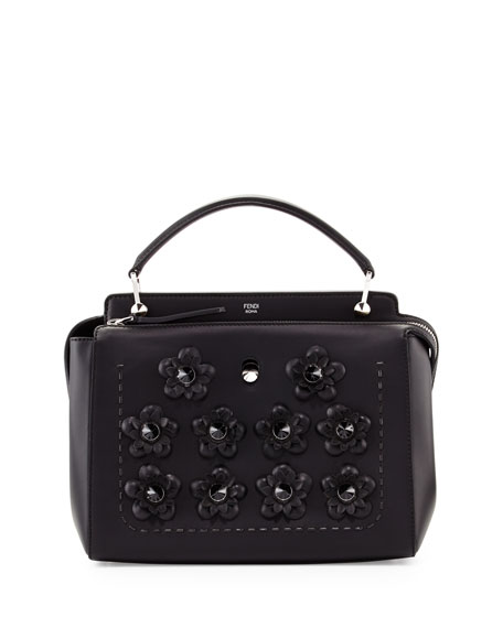 Fendi Dotcom Medium Flower Studded Satchel Bag, Black