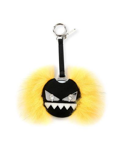 Monster Fur Mirror Charm for Handbag, Black/Yellow