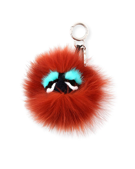FendiMonster Mixed-Fur Mini Charm for Handbag, Black/Bordeaux/Blue