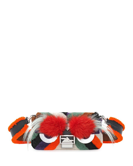 Fendi Baguette Monster Mixed-Fur Shoulder Bag, Orange Multi