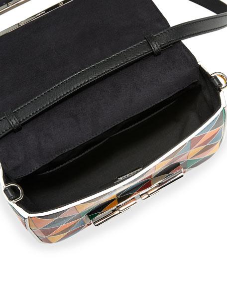 3Baguette Studded Chain Shoulder Bag, Multi