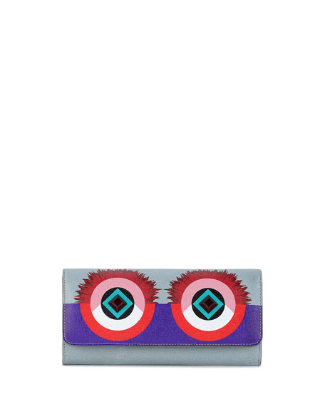Monster Eyes Continental Flap Wallet, Purple/Blue/Red