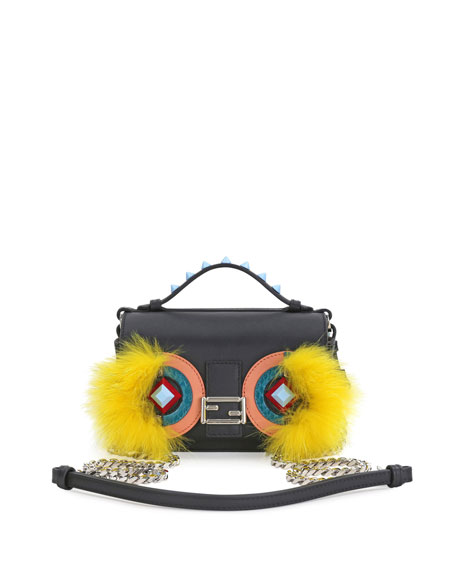 Fendi Baguette Micro Double-Sided Monster Crossbody Bag,