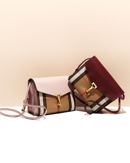 Macken Small Leather & House Check Crossbody Bag, Mahogany Red