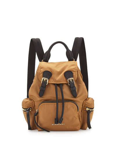 Small Leather-Trim Nylon Backpack, Light Flax