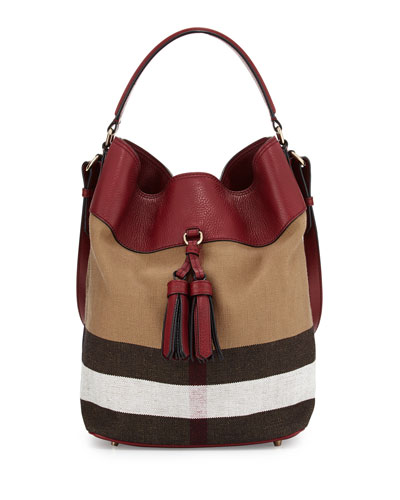 Ashby Medium Unstructured Check/Leather Bag, Burgundy