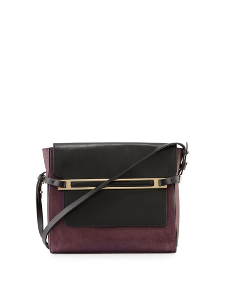 CoSTUME NATIONAL Two-Tone Leather Shoulder Bag, Black/Ice