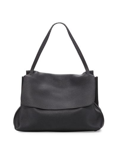Leather Flap-Top Shoulder Bag, Black