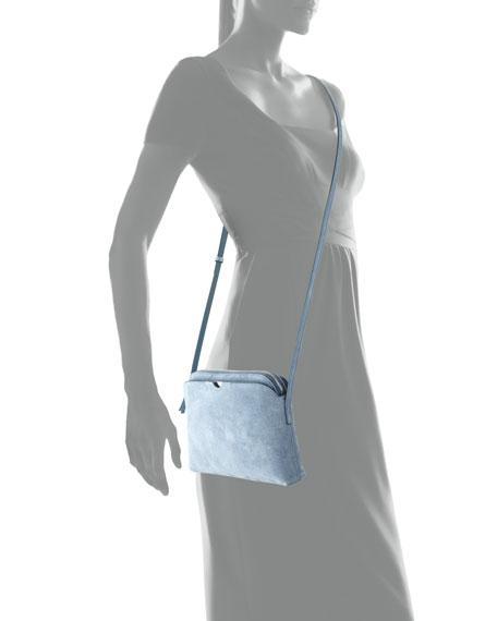 Multi-Pouch Suede Crossbody Bag, Topaz Blue