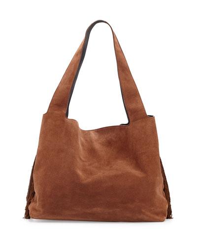 Duplex Suede Satchel Bag, Saddle