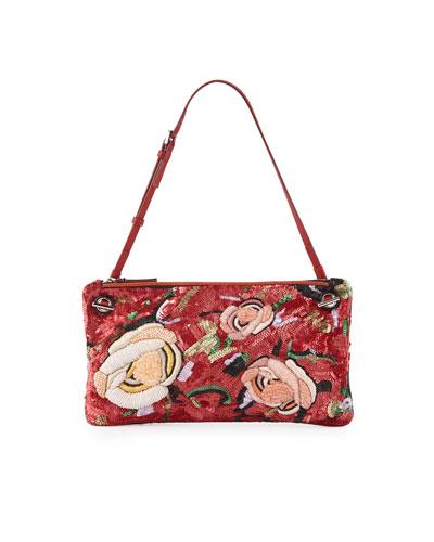 Happy Hour 10 Floral Pouch Shoulder Bag, Tangerine/Multi