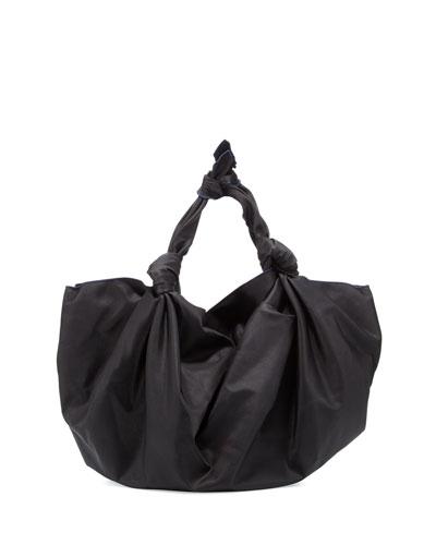 The Ascot Knot Nylon Hobo Bag, Black