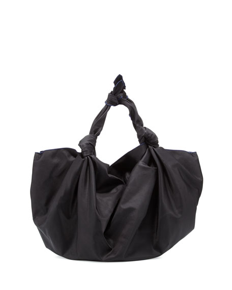 The Ascot Knot Nylon Hobo Bag, Black