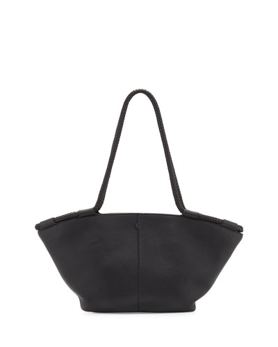 Market Leather Braided Tote Bag, Black