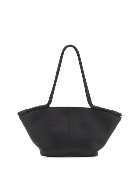 THE ROW Market Leather Braided Tote Bag, Black