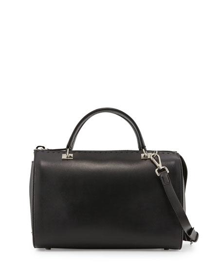 CoSTUME NATIONAL Pebbled-Leather Large Satchel Bag, Black