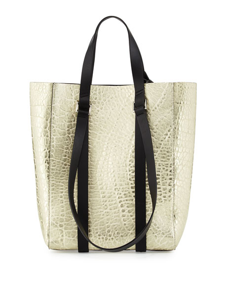 CoSTUME NATIONAL Metallic Leather Tote Bag, Optic White