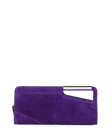 East-West Suede Clutch Bag, Purple