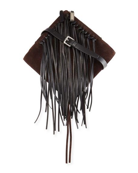 CoSTUME NATIONAL Suede & Leather Shoulder Bag W/Fringe, Cocoa/Black