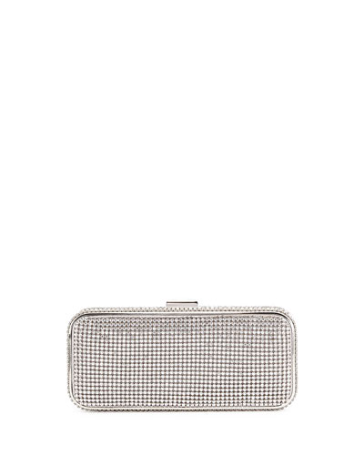 Susan Crystal-Embellished Minaudiere Evening Clutch Bag, Silver
