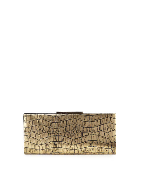 Badgley Mischka Collection Joyce Metallic Crocodile-Embossed Evening Clutch ...