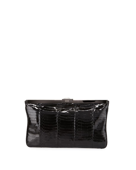 Badgley Mischka Collection Elsa Snake-Embossed Evening Clutch Bag, Black