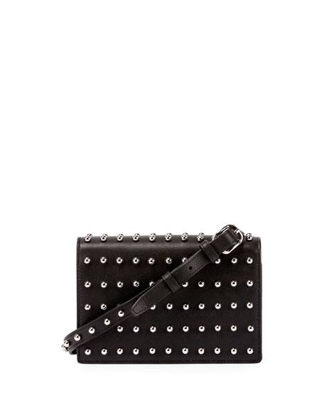 Prisma Double Biker Studded Purse/Wallet, Black