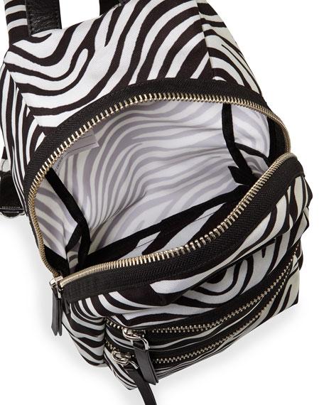 Zebra-Print Biker Backpack, Off White/Black
