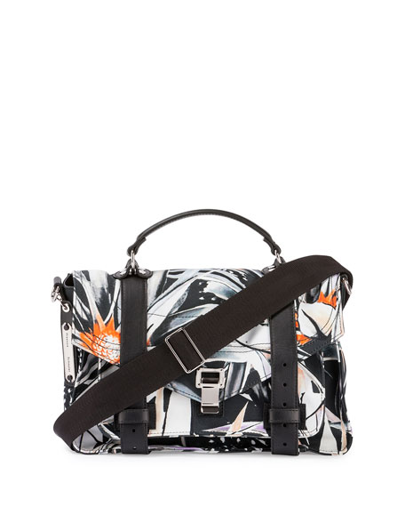 Proenza Schouler PS1 Medium Printed Nylon Mailbag, Black/White