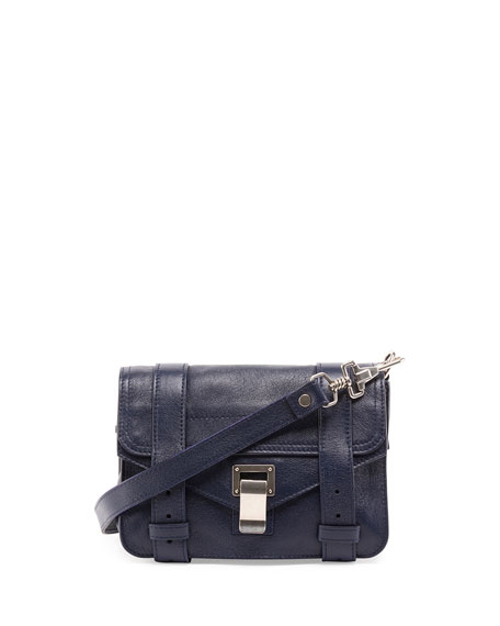 Proenza Schouler PS1 Mini Leather Crossbody Bag, Indigo