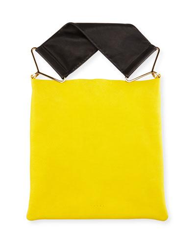 Twist Bicolor Leather Hobo Bag, Maize