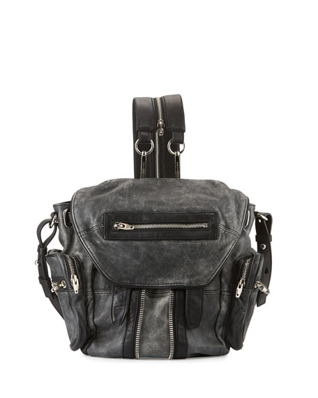 Alexander Wang Marti Mini Crackled Lambskin Backpack, Black/White