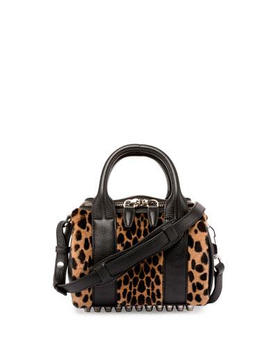 Mini Rockie Printed Kangaroo Fur Satchel Bag, Cheetah