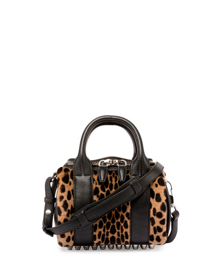 Mini Rockie Printed Kangaroo Fur Satchel Bag, Cheetah