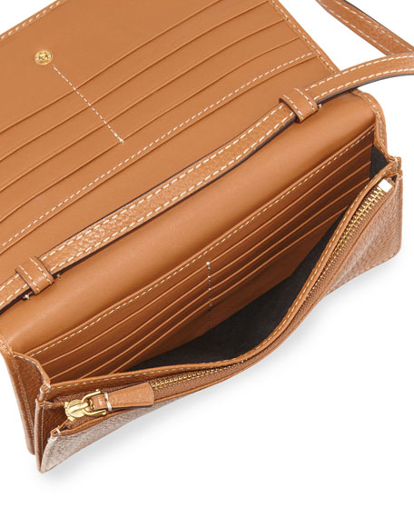 Gotham Leather Wallet-On-Strap, Maple Tan