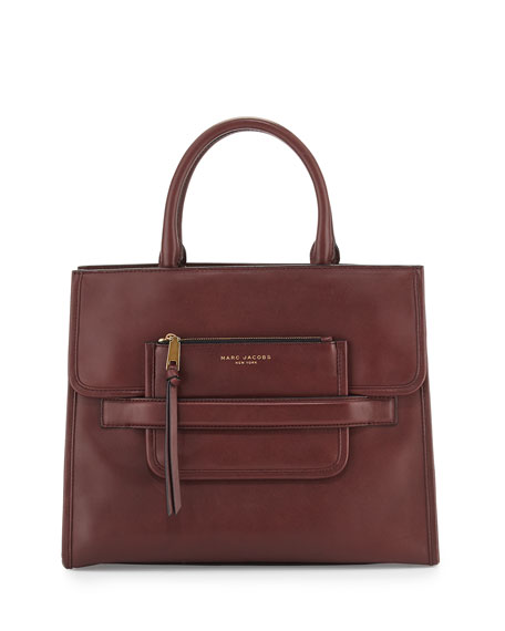 Marc JacobsMadison North-South Leather Tote Bag, Rubino
