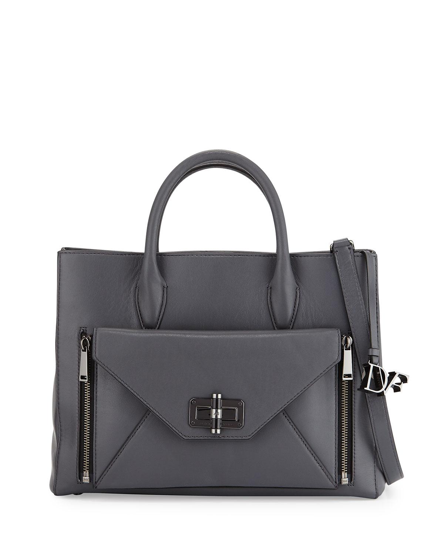 Secret Agent Large Leather Tote Bag Slate
