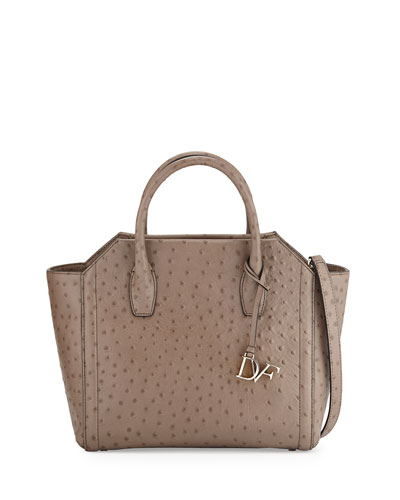 Stella Ostrich-Embossed Large Satchel Bag, Mushroom