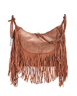 Fringed Goddess Hobo Bag, Tan