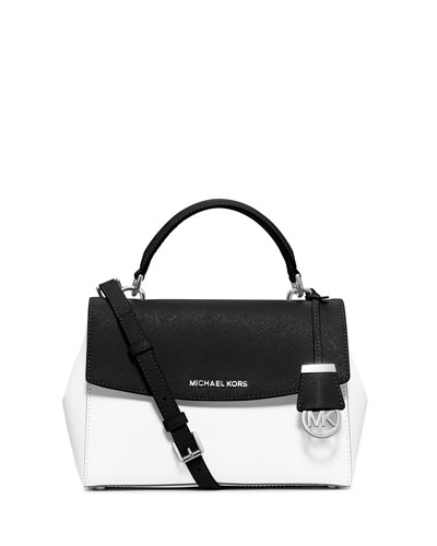 Ava Small Bicolor Leather Satchel Bag, White/Black