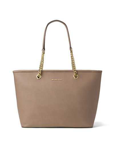 Jet Set Chain Saffiano Tote Bag, Dark Dune