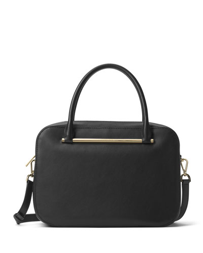 Jessica Large Leather Satchel Bag, Black