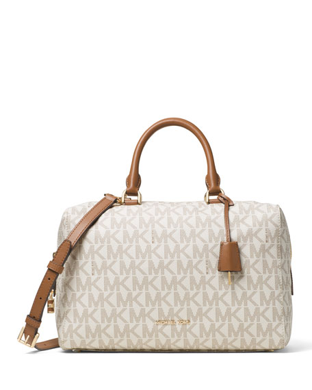 Kirby Large Logo Satchel Bag, Vanilla