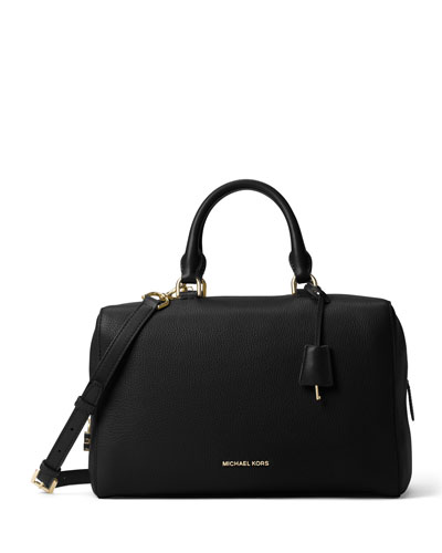 Kirby Large Leather Satchel Bag, Black