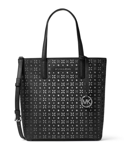 Hayley Medium Laser-Cut Tote Bag, Black/Nickel